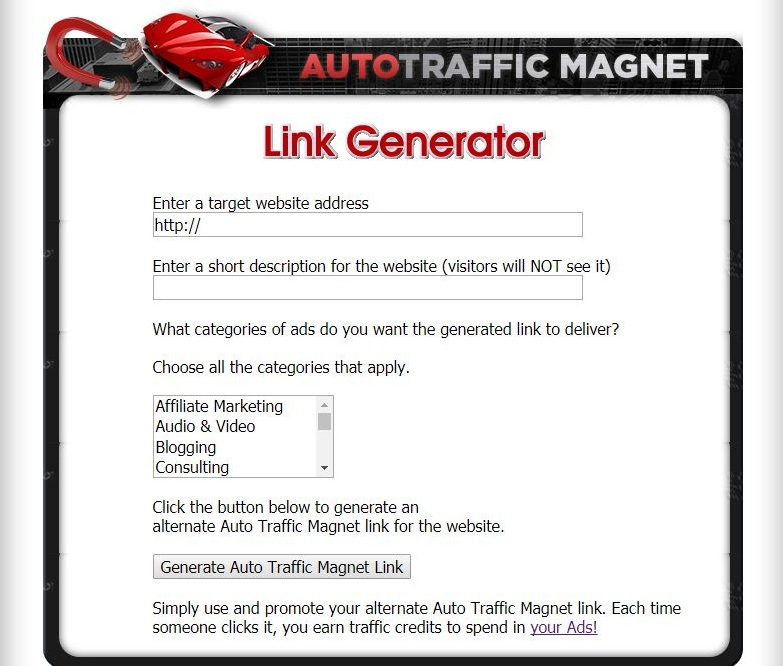 Create viral link with Auto traffic magnet link generator