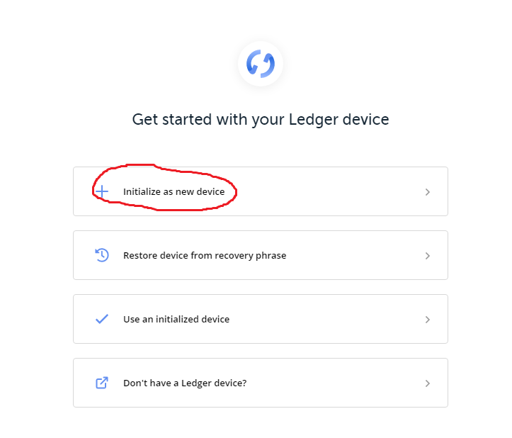 ledger live first step