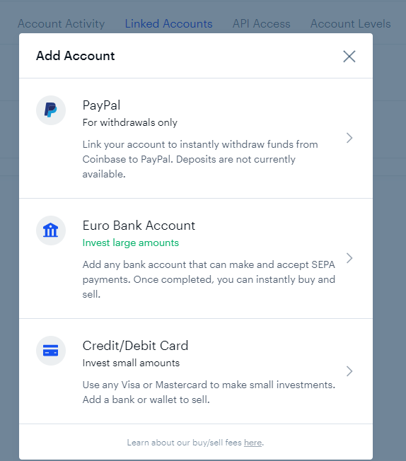 How to connect PayPal account to Coinbase?